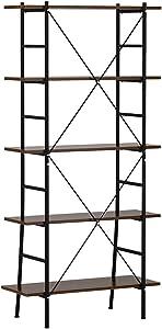 LANGRIA Bücherregal, 5-stöckig, mit gekreuztem Steg, stabiles und widerstandsfähiges Metall- und MDF-Plattenregal mit Anti-Kipp-Kit und Tragkraft von 110 lbs. (Schwarz und Braun)