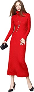 Women Slim Fit Ribbed Turtleneck Long Sleeve Maxi Knit Sweater Dress