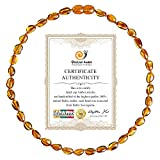 True Amber Necklace (Unisex - Cognac - 12.5 Inches), 100% Baltic Amber Necklace