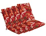 BOSSIMA Indoor Outdoor High Back Chair Cushions Replacement Patio Chair Seat Cushions Set of 4 Red/Brown Floral