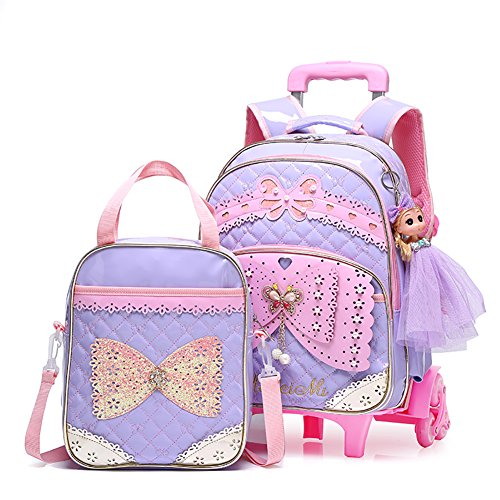 Meetbelify Rolling Backpacks For Girls School Bags Trolley Handbag With Lunch Bag (Purple)