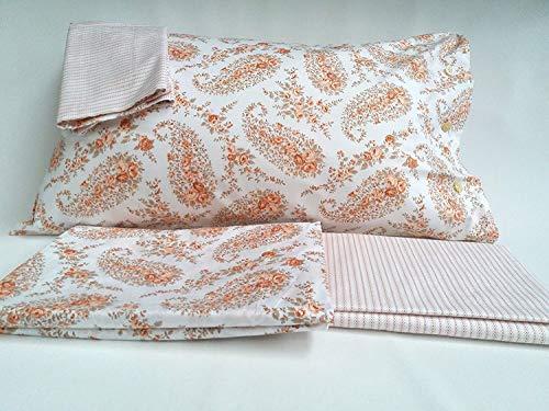 Bellora Bettwäsche-Set für Doppelbett aus Perkal aus reiner Taormin-Baumwolle: 1 Sack 255 x 200 + 1 Spannbettlaken 170 x 200 + 2 Kissenbezüge 50 x 80 VAR. Lachs