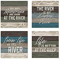 Carson River Square House Coaster Set [並行輸入品]