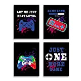 """SHIKAIA Unframed Video Game Art Print, Watercolor Game Theme Canvas Poster, Gaming Quotes Art Printing(8""""x10""""- 4 Pieces), Funny Gamer Wall Art Picture For Boys Bedroom Kids Playroom Decor"""