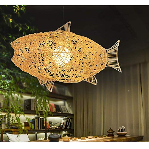 LLLKKK Candelabro de araña LED de techo hecho a mano de ratán, lámpara de techo o de mesa, forma ovalada, color madera natural, tamaño (forma de pez 63 x 25 x 35 cm)