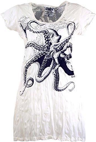 GURU SHOP Sure Long Shirt, Minikleid Krake, Damen, Weiß, Baumwolle, Size:S (36), Bedrucktes Shirt Alternative Bekleidung