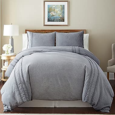 Amrapur Overseas | Washed Linen 3-Piece Rich Duvet Set with Lace (Grey, King)