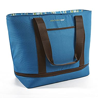 Rachael Ray Expandable Insulated Tote Bag, XL Capacity for Grocery Shopping/Entertaining, Marine Blue Stripe