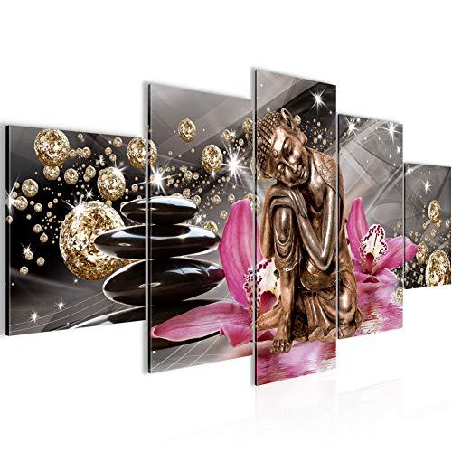 Bouddha Orchidée Tableau Murale Impression sur Toile Intissee 5 Parties Diamant Beige Rose Chambre Salle 505353a