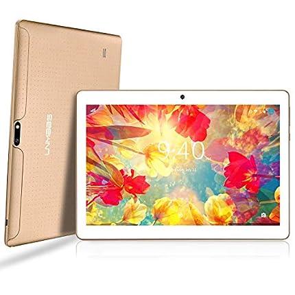 LNMBBS Android 9.0 Tablet de 10'' con WiFi 4GB de RAM y 64 GB de Memoria Tablet PC Procesador de Cuatro núcleos y Dobles Ranuras SIM y una Ranura TF Cámara GPS OTG (Oro)