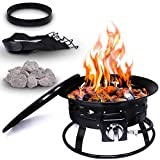 Project One Portable Outdoor Propane Fire Pit with Cover, Carry Kit, & Lava Rocks, 19-Inch Diameter 58,000 BTU, Cross Pattern