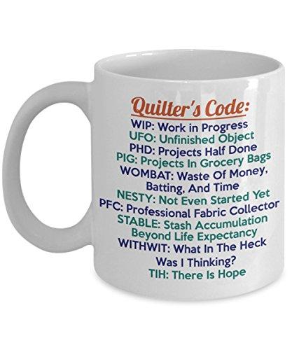 Sewing Funny 11oz Coffee Mug - Best Quilting Gift For Friend,Coworker,Boss,Secret Santa,Birthday,Husband,Wife,Girlfriend,Boyfriend (White) - Sew Quilt Crochet Acronyms Needle Craft Humor