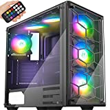 MUSETEX ATX Mid-Tower Case 907 Phantom Black, 6 ARGB Fans USB3.0 Honeycomb Airflow Music Remote Control 2 Tempered Glass Panels, Gaming PC Case Computer Chassis