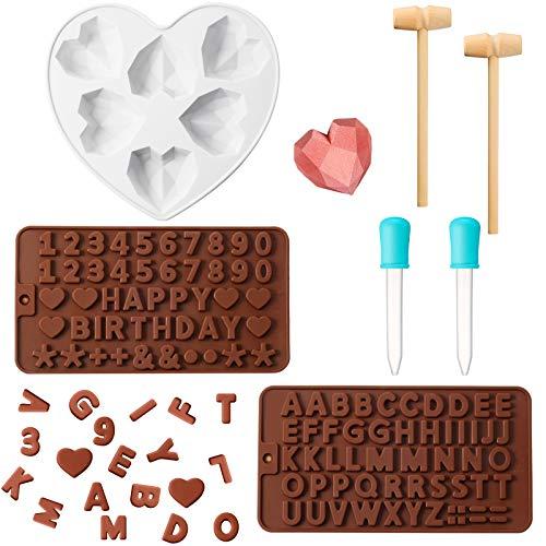 Stampi a Cuore di Diamante Stampi in Silicone di Cioccolato 2 Stampi di Numero Lettera 2 Martelli di Legno 2 Contagocce per Dessert Mousse Cheesecake Fondente di Nozze Valentine (Bianco)