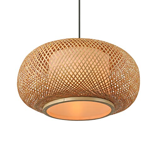 BAYCHEER lámpara colgante moderna linterna globo lámpara colgante lámpara colgante pantalla de bambú lámpara de techo, altura ajustable para bar cafe club, estudio, sala de estar, cocina (19.5