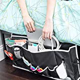 """Townshine Dorm Room Essentials,23\"""" x 12\"""" Bedside Caddy Organizer with 15 Pockets for College Girls and Boys (Black)"""