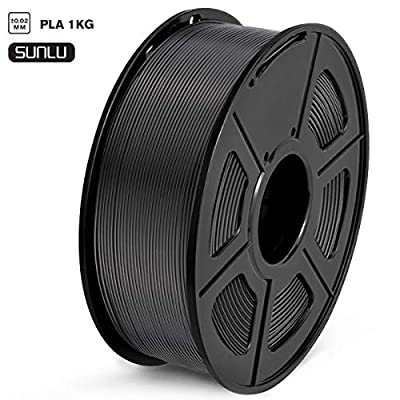 SUNLU PLA Filament 1.75mm 3D Printer Filament PLA Tangle-Free 1kg Spool (2.2lbs), Dimensional Accuracy of +/- 0.02mm PLA Black