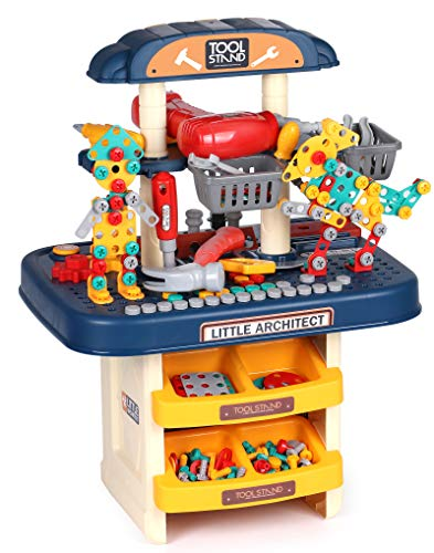 G.C Tool Bench Set for Kids Toy Workbench STEM Building Puzzles with Large Storage Space Building Blocks Miter Saw Electric Drill Play Construction Workshop Tools Kit Gifts for Boy Girls Age 2 3 4 5