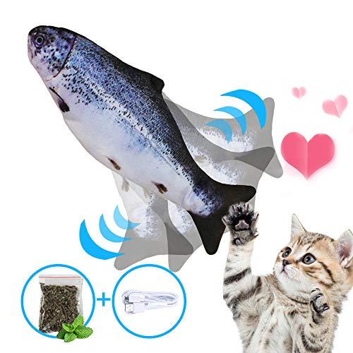 NIBESSER Elektrische Fische Katze, USB Elektrische Plüsch Fisch mit Katzenminze, Katze Interaktive Spielzeug, Simulation Fisch Elektrisch, Kissen Kauen Spielzeug Simulation Plush Fisch Shape für Katze