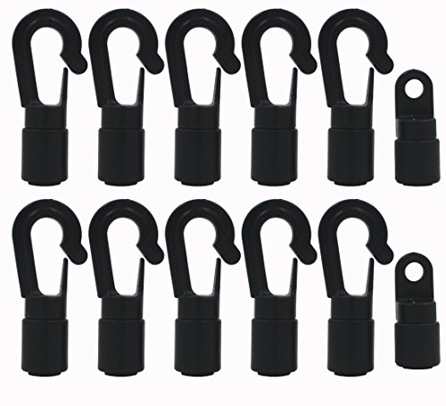 YYST 10 Pcs Bungee/Shock Cord Hook Fixed End Tabbed S Hooks for 1/4