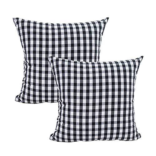 Tecrest - Funda de cojín de Lona de algodón, diseño de Cuadros, par