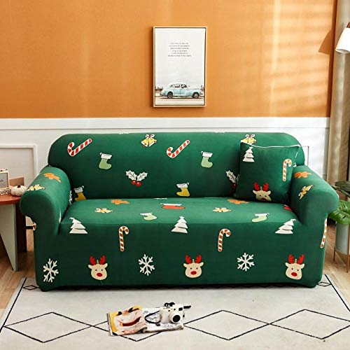 Sofa Cover Stretch Elastic Green gift pattern Printed Sofa Slipcover 2 Seater Polyester Spandex Furniture Decorative Soft Loveseat Couch Covers Chair Protector for Pets Kids Sofa Covers