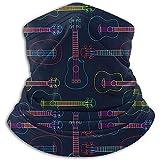 Randy-Shop Pop Colorful Line Art Ukelele Hawaiano Unisex Fleece Neck Warmer, Neck Gaiter Cover Face Cover