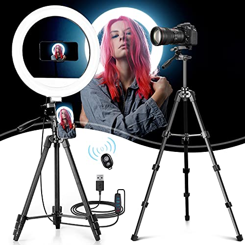 "Lasama 12"" Ring Light with 3 Color Modes, 10 Adjustable Brightness, 53.7"" Extendable Tripod Stand, 3 Phone Holders, Bluetooth Remote Shutter, Led Light for Photography/Makeup/YouTube/Vlogs"