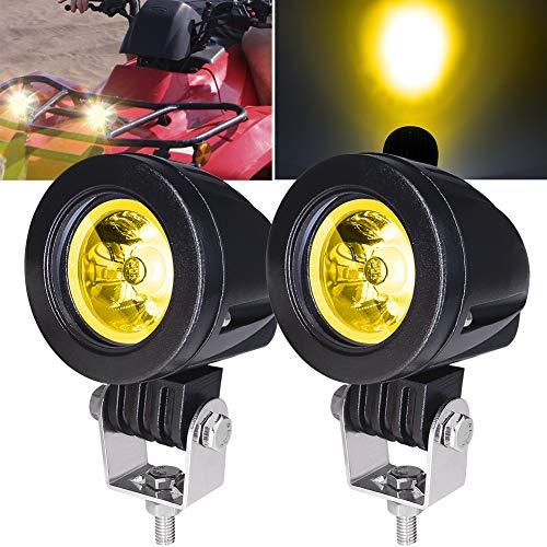 2 Stück 10 W Motorrad-Spots, bernsteinfarben, 5,1 cm Motorrad-Nebelscheinwerfer, Zusatzlichter, Motorrad-Scheinwerfer, LED-Zusatzlichter 12 V 24 V für LKW, Off-Road, 4 x 4, ATV