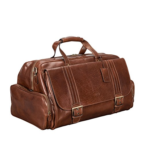Maxwell Scott Men's Italian Leather Travel Holdall - DinoM Tan