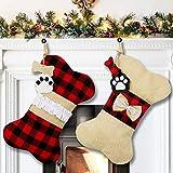 AerWo Pet Dog Christmas Stockings Set of 2, Buffalo Plaid Christmas Stockings Large Bone Shape Hanging Pets Stockings for Dogs Christmas Decorations