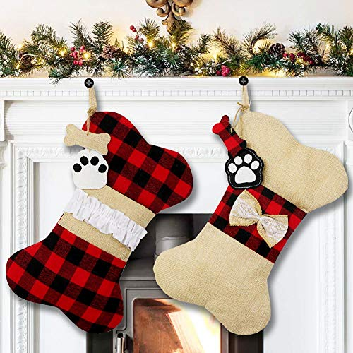 AerWo Pet Dog Christmas Stockings Set of 2, Buffalo Plaid Christmas Stockings Large Bone Shape Hanging Pets Stockings for Dogs Christmas Decorations