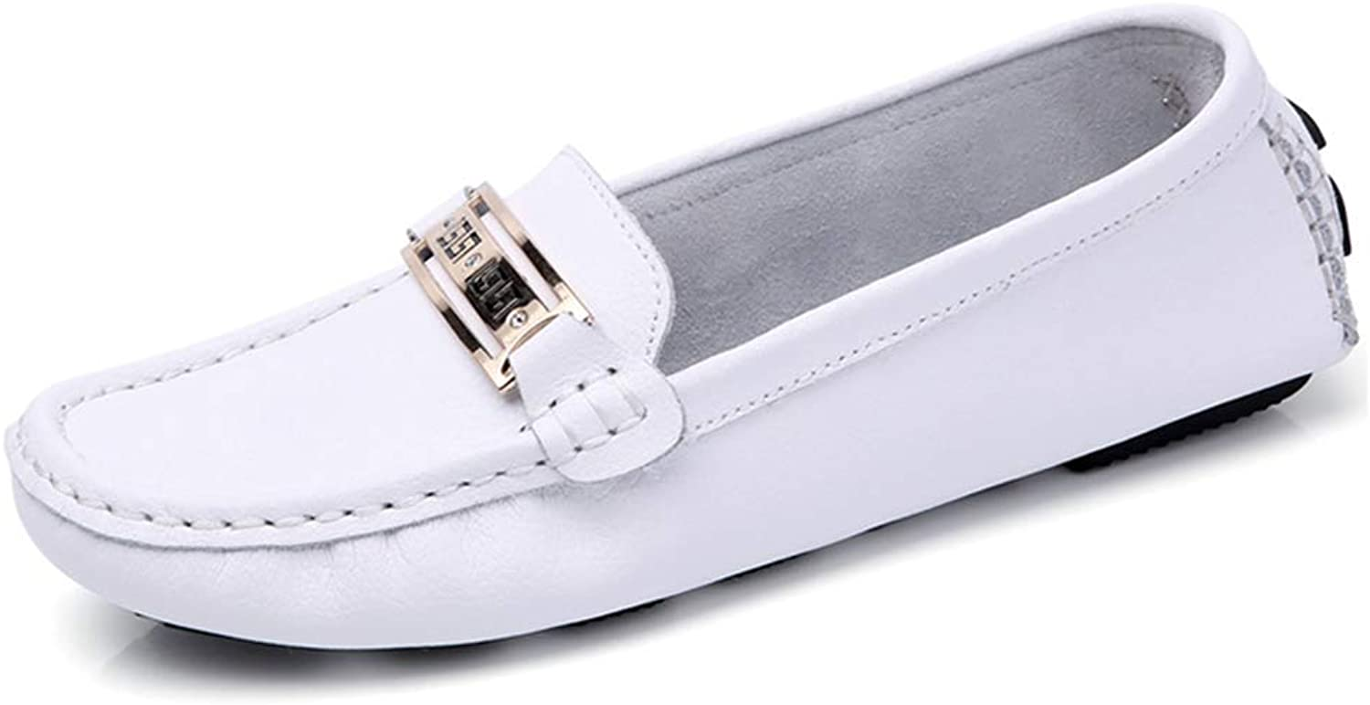 JOYBI Women's Casual Loafers Ballet Flats Wide Square Toe Metal Chain Decor Soft Comfort Slip on Lightweight Penny Walking Home Office shoes