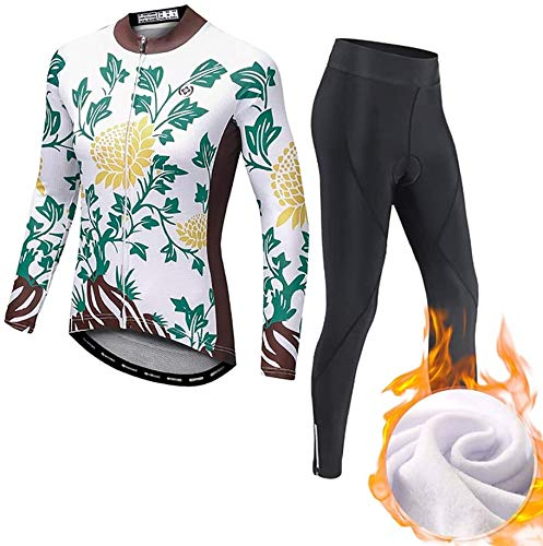 Ladies Cycling Jersey Set, Long Sleeve, and Cycling Shorts with 3D Seat Pad,Comfortable Sports, Moisture Wicking, No Odor (Size : Large)