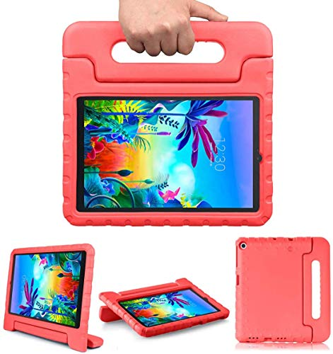 Golden Sheeps Kid Friendly Case Compatible for LG G Pad 5 10.1 inch 2019 T600 T605 Shockproof Ultra Light Weight Convertible Handle Stand Cover (red)