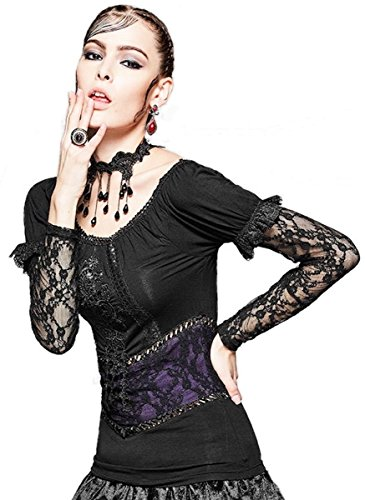Punk Rave Dark Dreams Gothic Steampunk Top Shirt Bluse Spitze 38 40 42 44, Größe:XL;Farbe:schwarz/lila