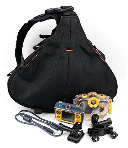 DURAGADGET - Petit Sac à Dos Noir/Orange Triangle pour VTech Kidizoom Action Cam 180 caméra Enfant 507005 – Multi-Poches et séparateurs