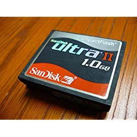 SanDisk 1GB Ultra II CompactFlash Memory Card 5 SanDisk 1.0 GB Ultra II CompactFlash Card General Features: Stores up to 1.0 GB of memory High density flash memory Minimum of 10 MB/sec read speed Minimum of 9 MB/sec write speed Low power consumption Regulatory Approvals: CE