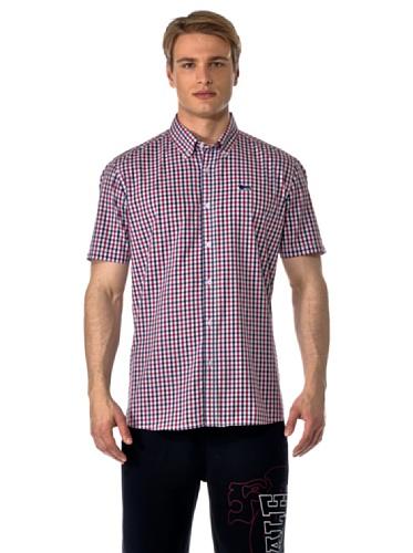 Lonsdale Herren Kurzarmshirt Hemd Slim Fit Shirt Richy Short Sleeve rot (rot/marineblau) Small