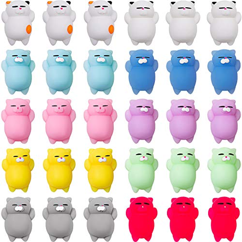 30 Pieces Mochi Cat Toys Soft Silicone Kawaii Kitties Cute Fun Cat Mochi Animals Toys Mini Stress Relief Sensory Cat for Boys Girls Adults Stress Party Fillers Birthday