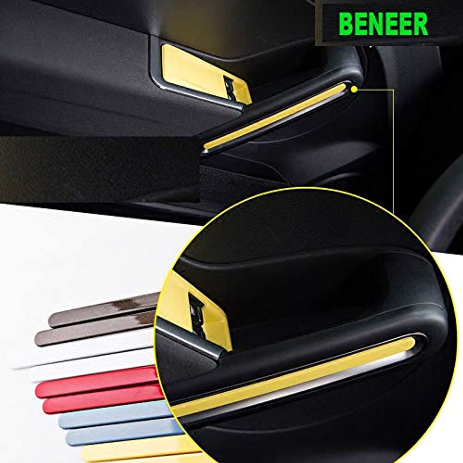 2pcs Plastic car Interior Door handlel Decoration Sticker for Volkswagen Beetle 2013 to 2017
