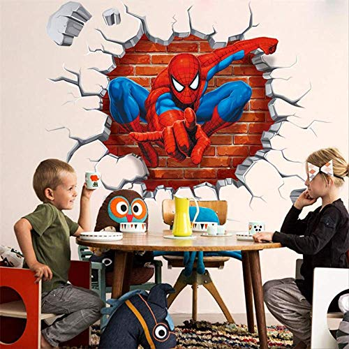 Hole Famous Cartoon Movie Spiderman Wall Stickers Kids Rooms Boys Gifts Through Wall Decals Home Decor Mural 40x50