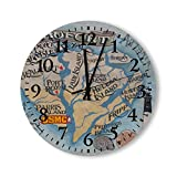 Wood Wall Clocks Beaufort SC Map Simple Watches Time for Kitchen Office Living Bedroom Wood Round Wall Clock Made in USA
