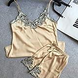 ZJHZN Pijama de satén de encaje de mujer de la marca Set Pijama Lencería de mujer Sexy con cuello en V Moda Set 2020 Pijama para Servicio de Domicilio Set Di Champagne XXL
