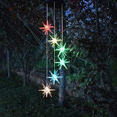 Anasu Solar Lights Outdoor, LED Changing Sea Urchin Wind Chimes Light LED Decorative Lights Wind Bell Light Home Garden Hanging Lamp Decor (Multicolor)