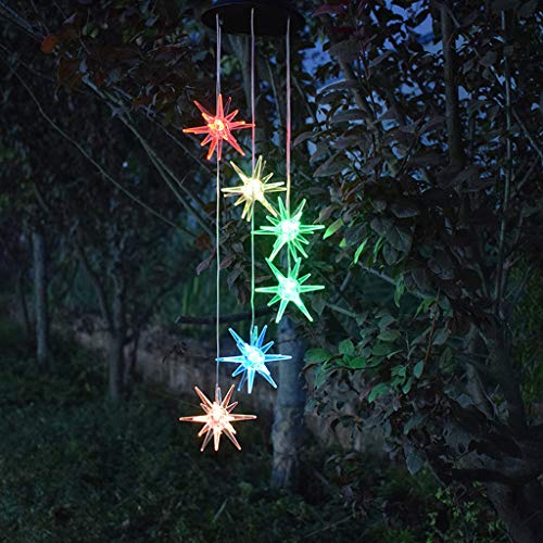 Anasu Solar Lights Outdoor, LED Changing Sea Urchin Wind Chimes Light LED Decorative Lights Wind Bell Light Home Garden Hanging Lamp Decor (Multicolor)