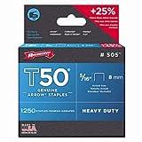 Arrow Fastener 505 T50 5/16' Flat Crown Heavy Duty Steel Staples 1250 per Package