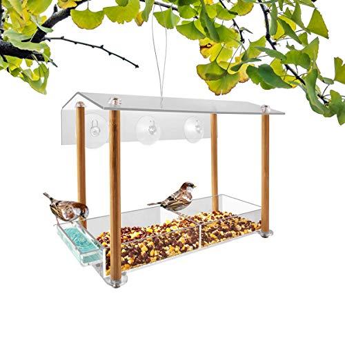 NIUXX Vogelhäuschen,vogelhaus Fenster saugnapf,separater Trinkwasserspüle und Holzsäulenhalterung,Mit Schutzhülle und Ablaufloch,Kann verwendet Werden,um an einem Baum zu hängen(31.5x17.5x7.1cm)