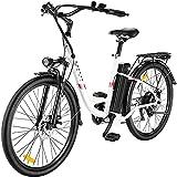 Ebike Elektrofahrrad, 26 Zoll E Bike Damen Herren, E Fahrrad Elektrofahrräder mit Abnehmbarer 36V 8Ah Batterie, Shimano 7 Gang Damenfahrrad Citybike (Weiß)