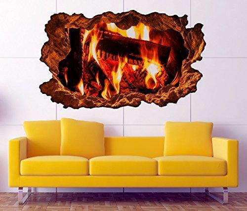 3D Wandtattoo Lagerfeuer Feuer Kamin Kaminfeuer Holz Bild Wandbild sticker Wandmotiv Wohnzimmer Wand Aufkleber 11F138, Wandbild Größe F:ca. 97cmx57cm